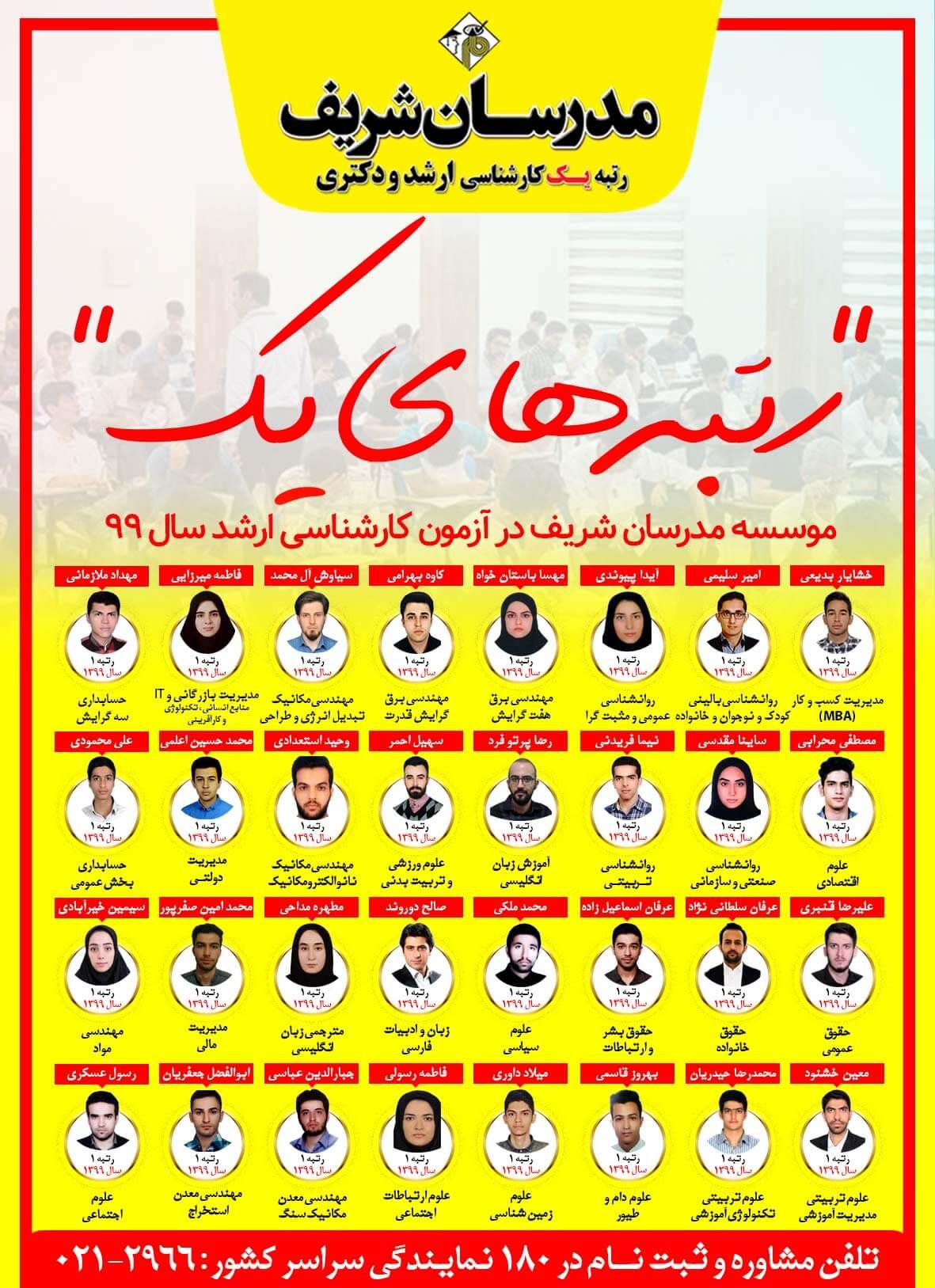 رتبه هاي برتر کارشناسی ارشد 99 مدرسان شریف